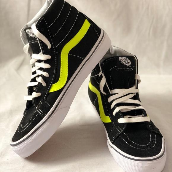 dd89858285 Vans SK8 HI Reissue Neon Leather Black Neon Shoes